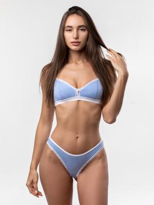 Бюстгальтер женский голубой меланж/белый
